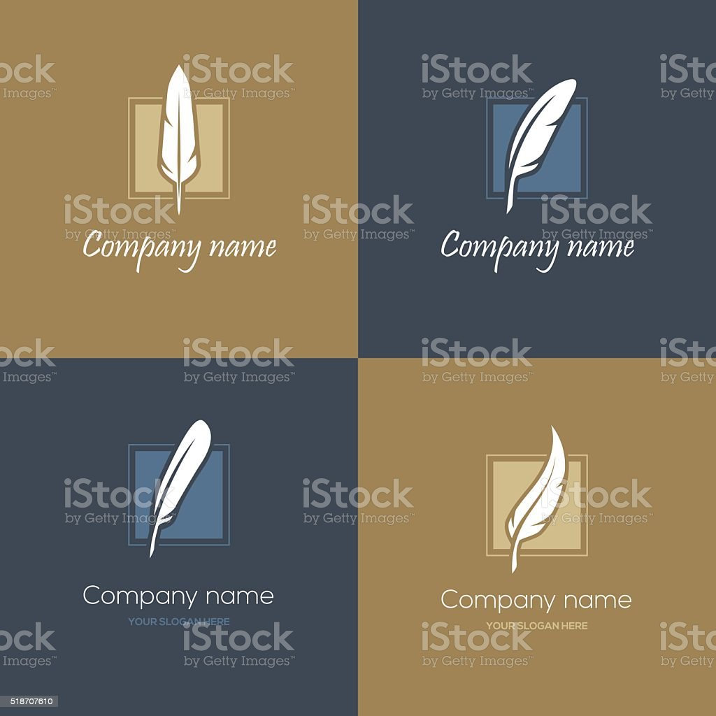 Four feather icons vector art illustration