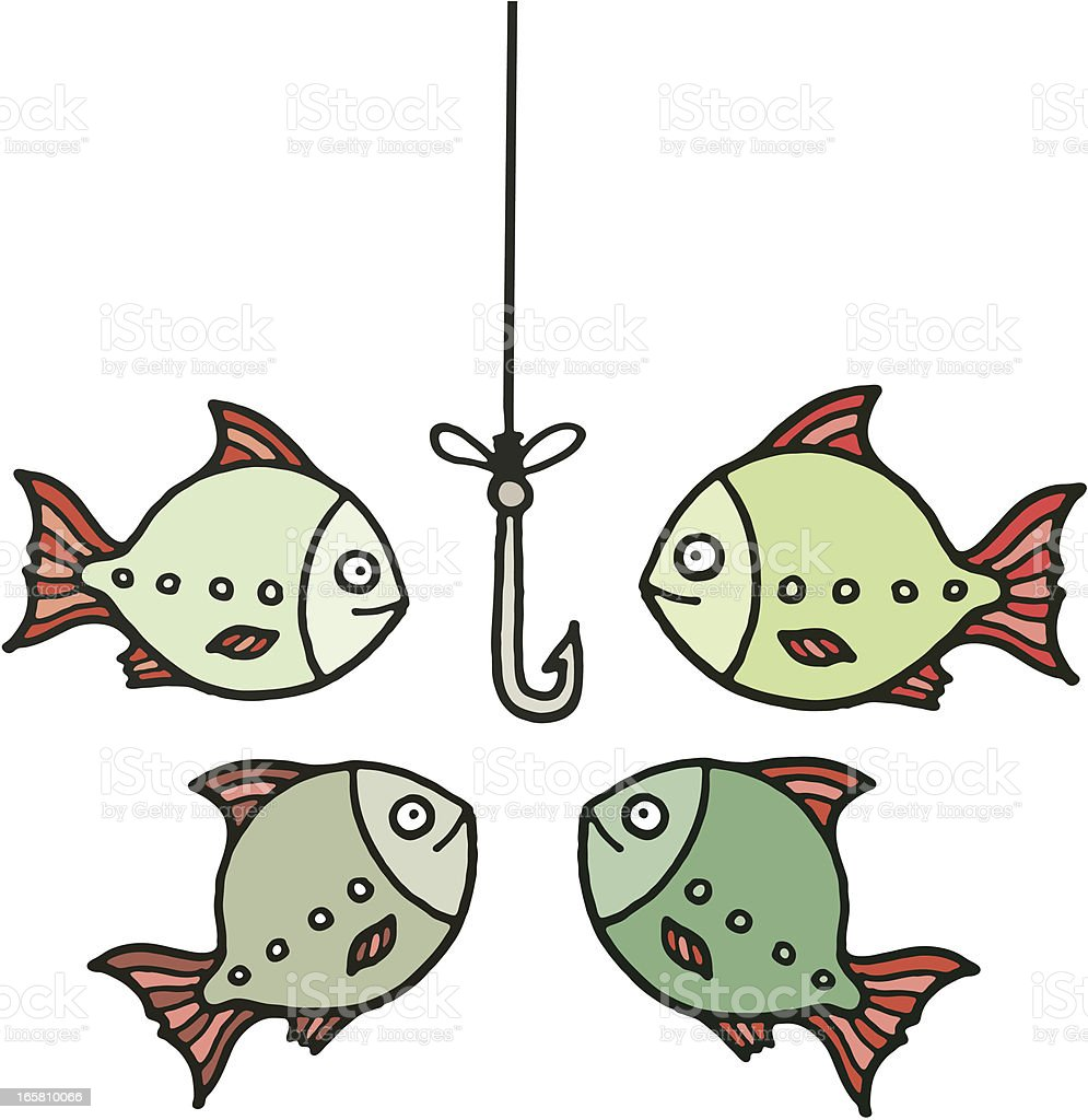 Four fish around an empty hook vector art illustration