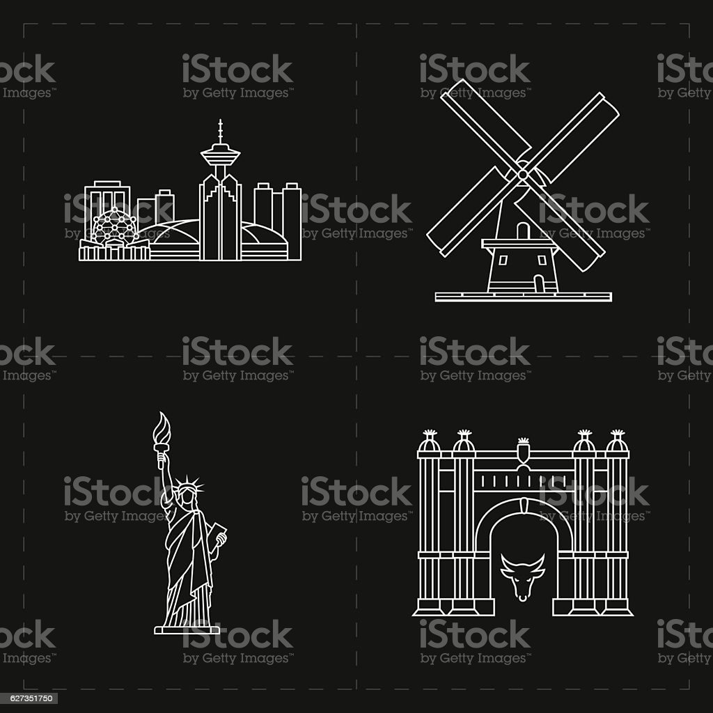 four flat landmark icons vector art illustration
