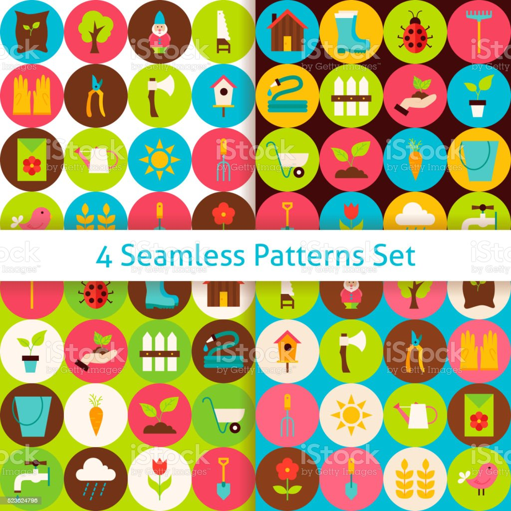 Four Flat Spring Garden Seamless Patterns Set with Circles vector art illustration