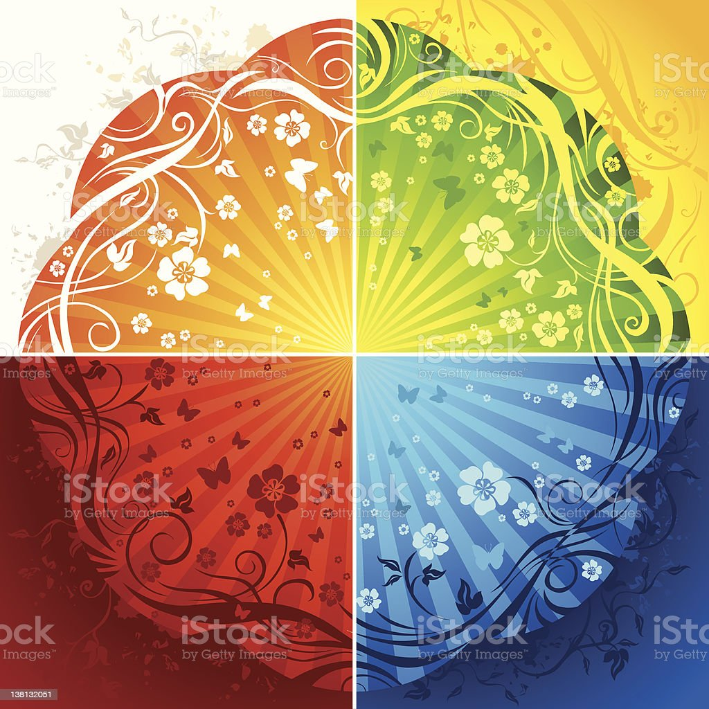 Four floral backgrounds royalty-free stock vector art
