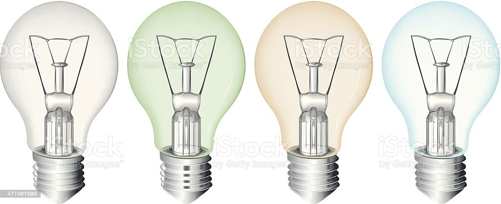 Four flourescent bulbs vector art illustration