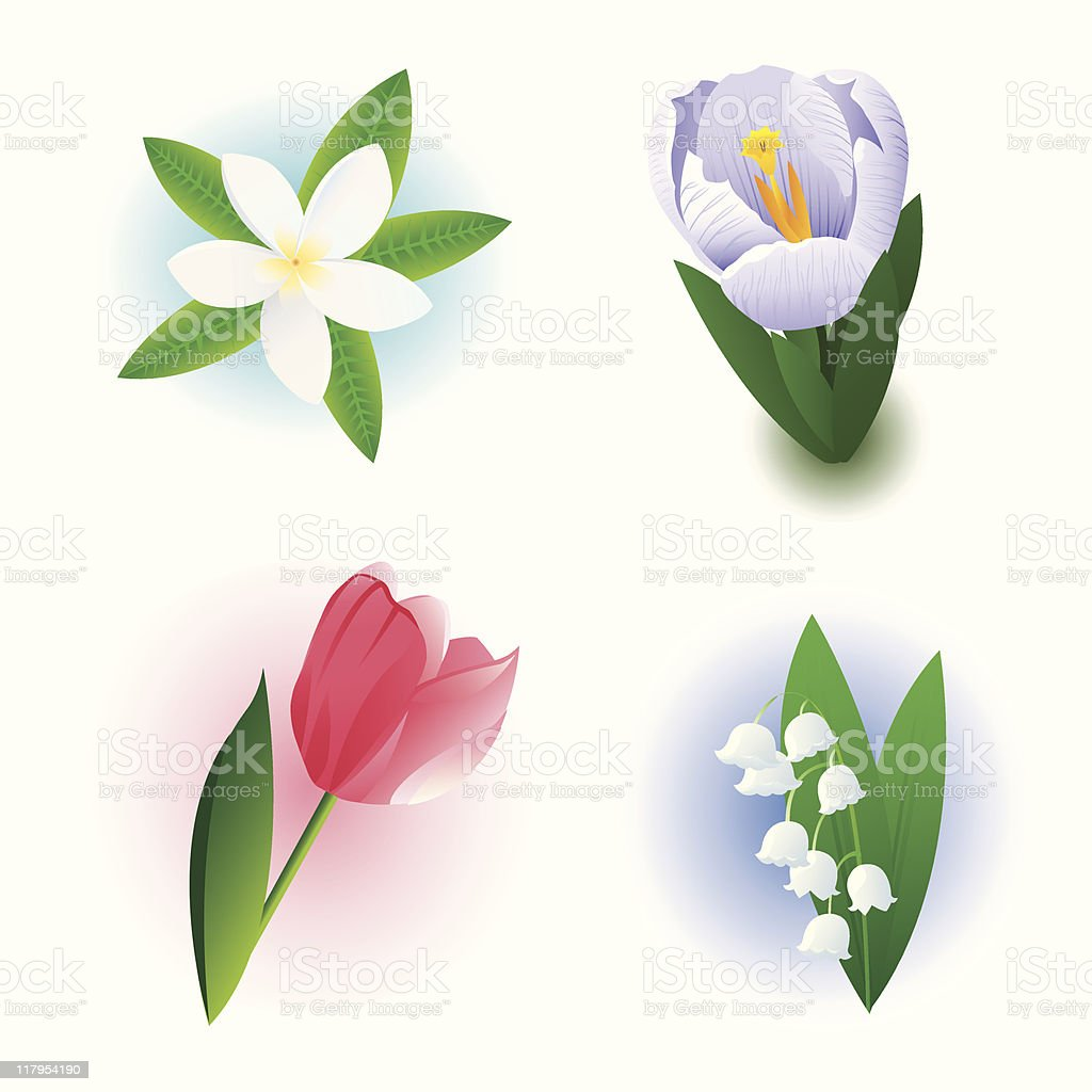 Four Flowers royalty-free stock vector art