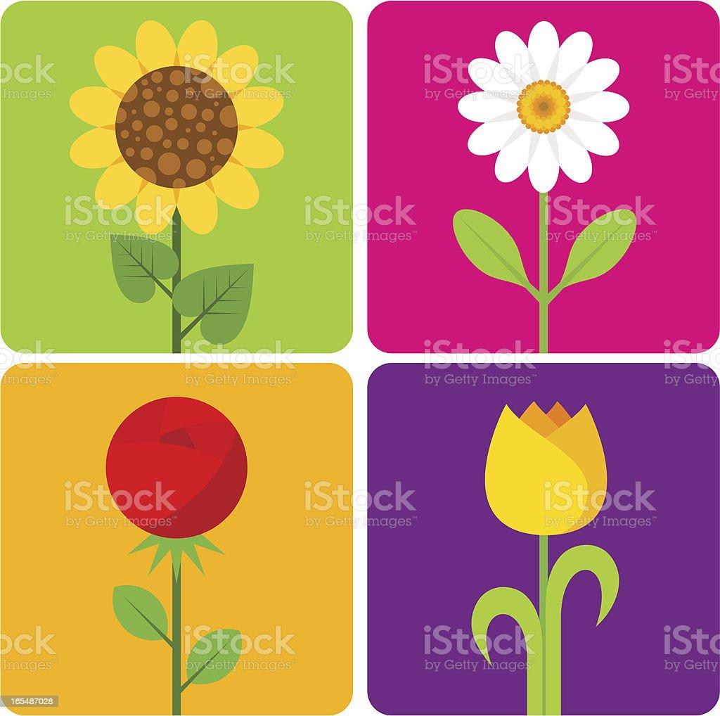 four flowers vector art illustration