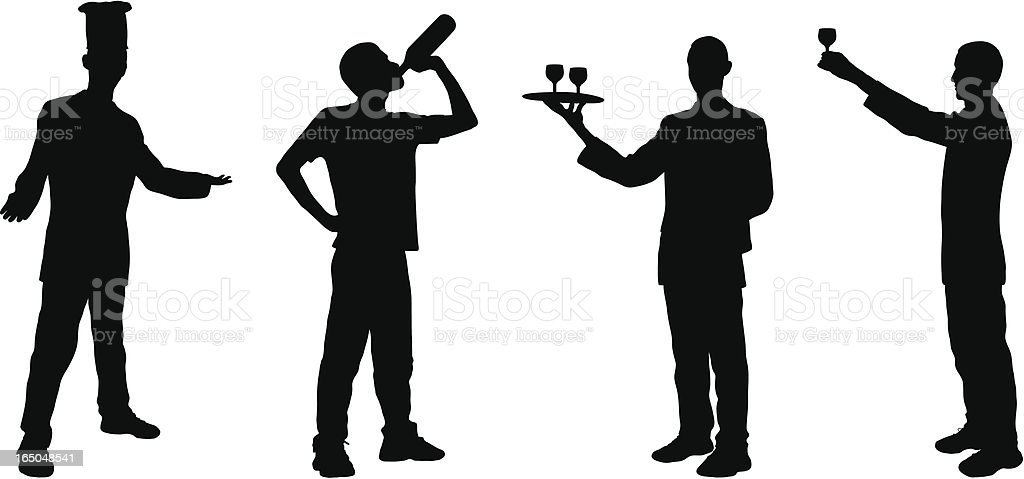 Four Food and Drink Silhouettes royalty-free stock vector art