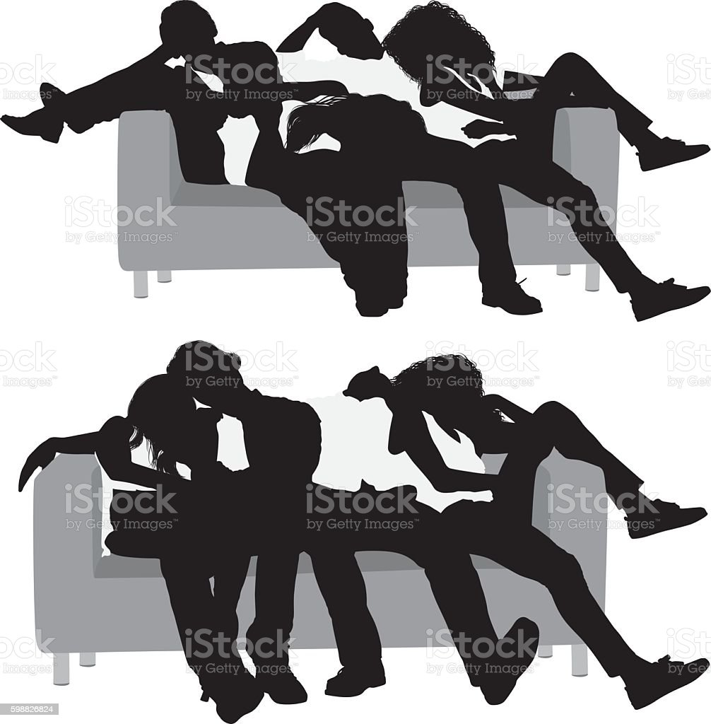 Four friend sleeping on couch vector art illustration