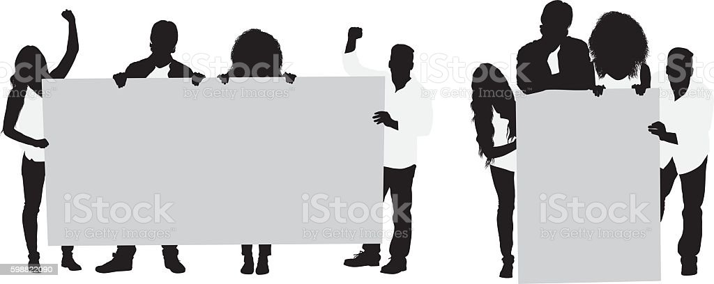 Four friends cheering with placard vector art illustration