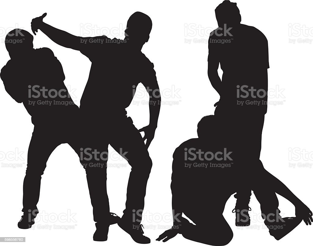 Four friends dancing together vector art illustration