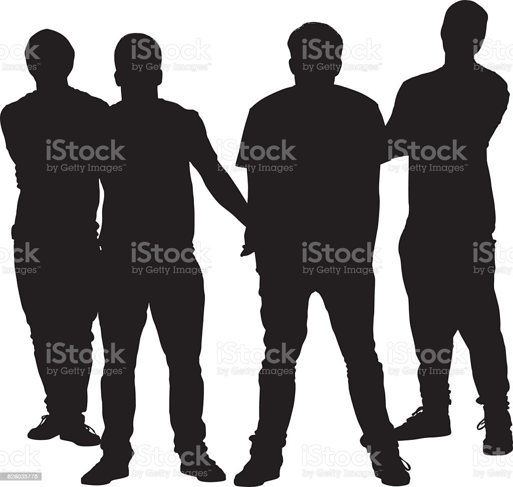 Four friends giving a pose vector art illustration