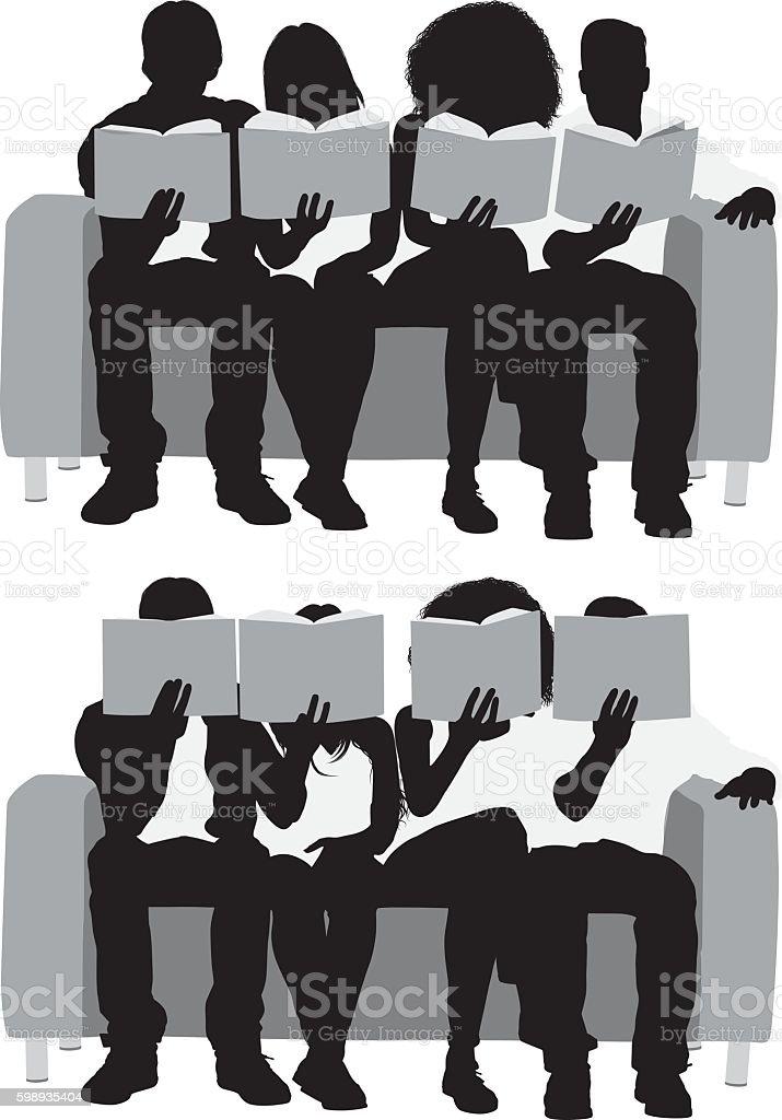 Four friends reading books vector art illustration