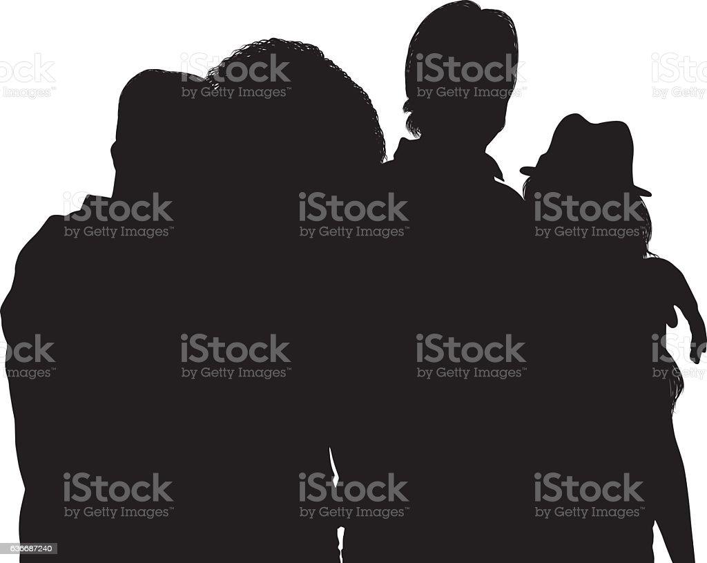 Four friends standing vector art illustration