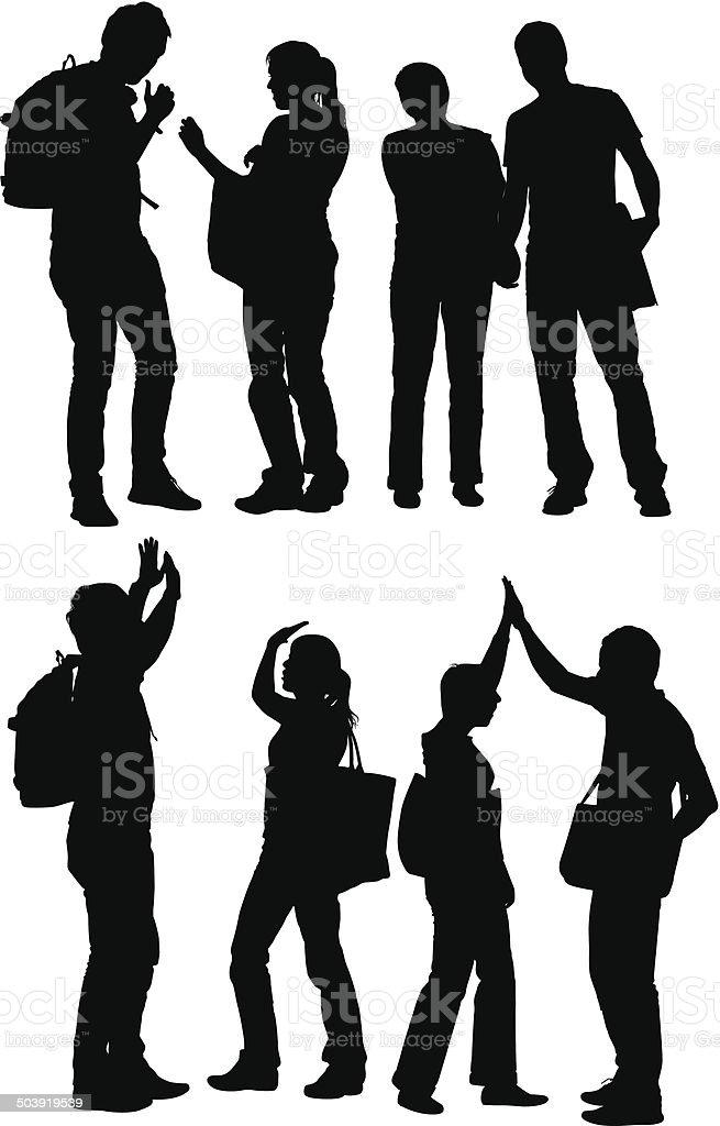 Four friends vector art illustration