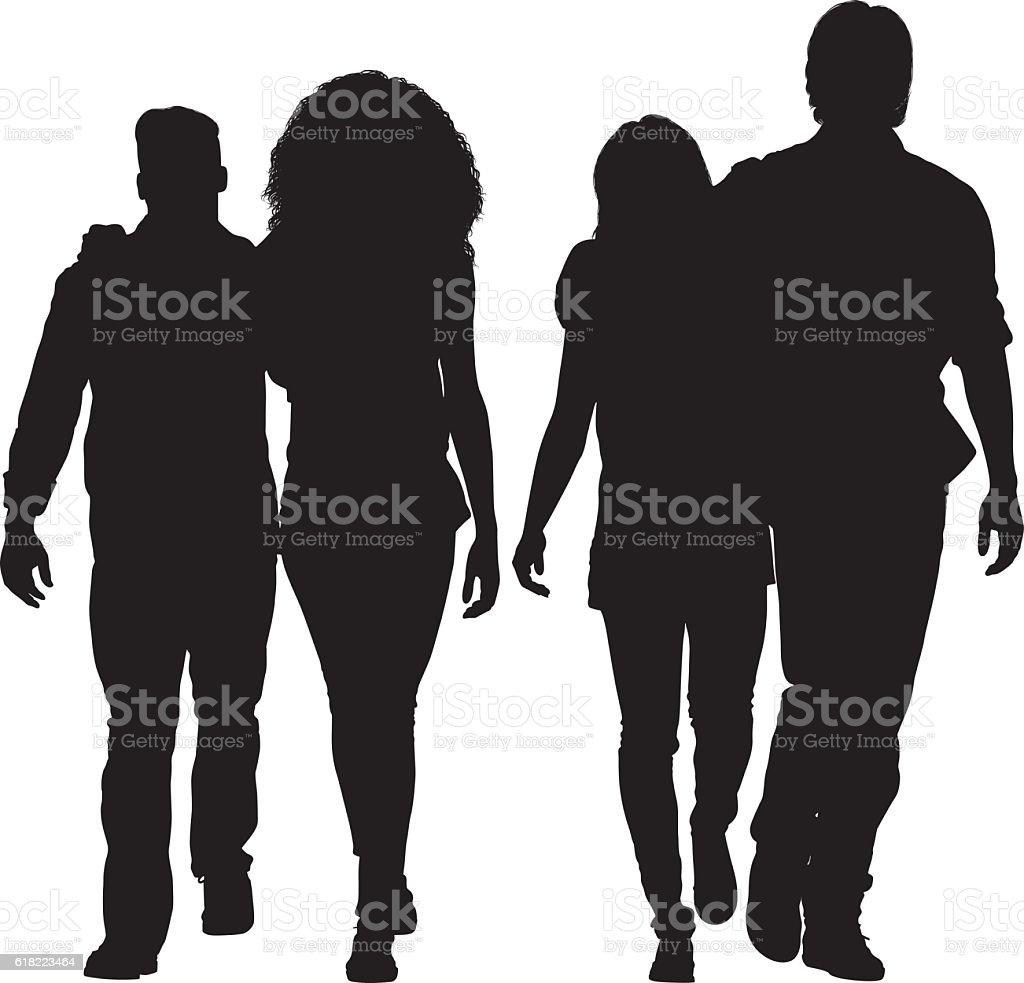 Four friends walking together vector art illustration