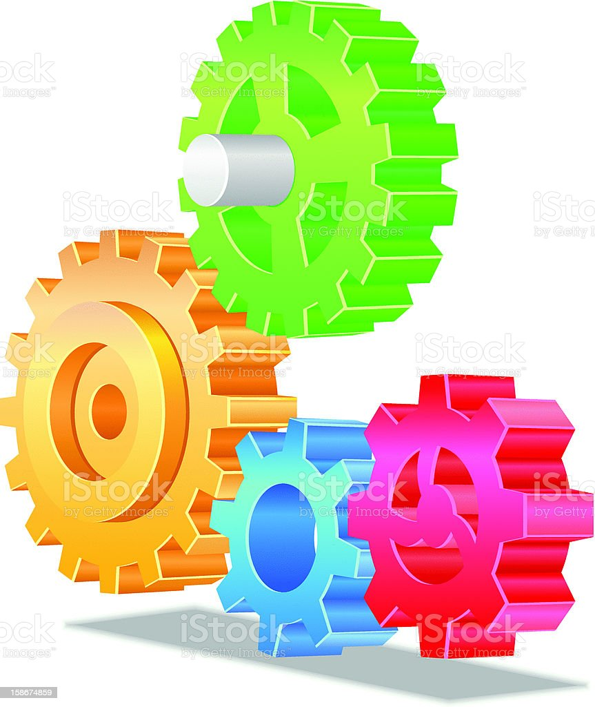 Four Gears Cogs Vector royalty-free stock vector art
