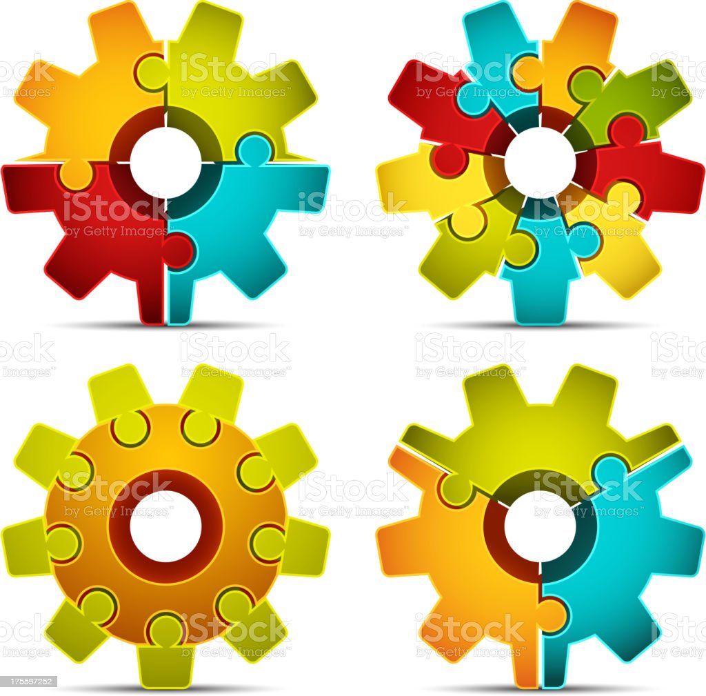 Four gears composed of puzzle pieces royalty-free stock vector art