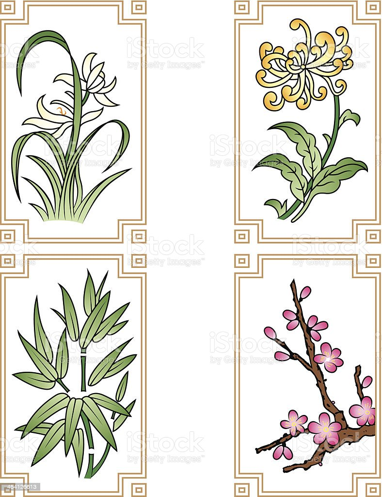 Four Gentlemen Flowers royalty-free stock vector art