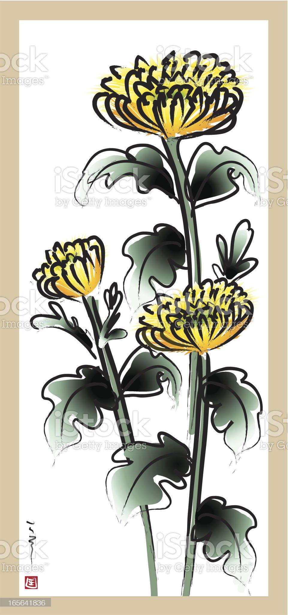 Four Gentlemen of Flowers - chrysanthemum royalty-free stock vector art