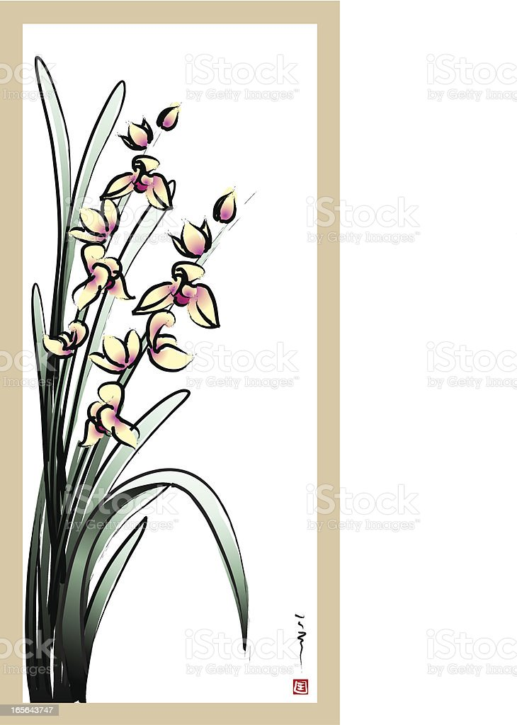 Four Gentlemen of Flowers - orchid royalty-free stock vector art