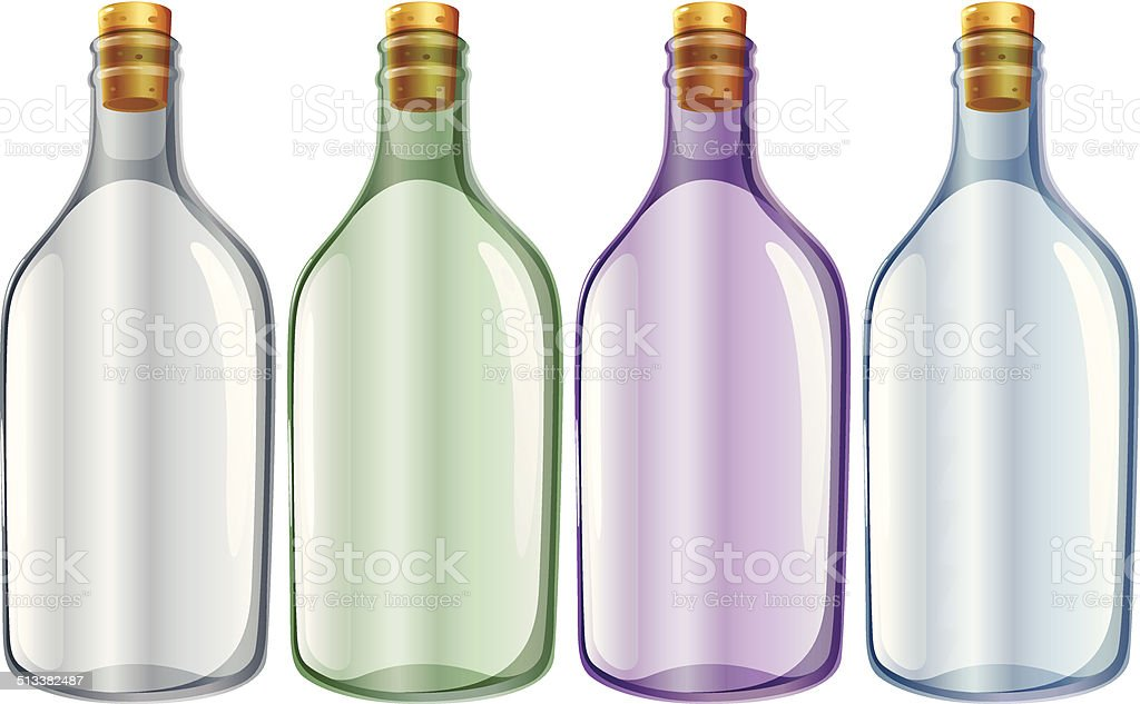 Four glass bottles vector art illustration