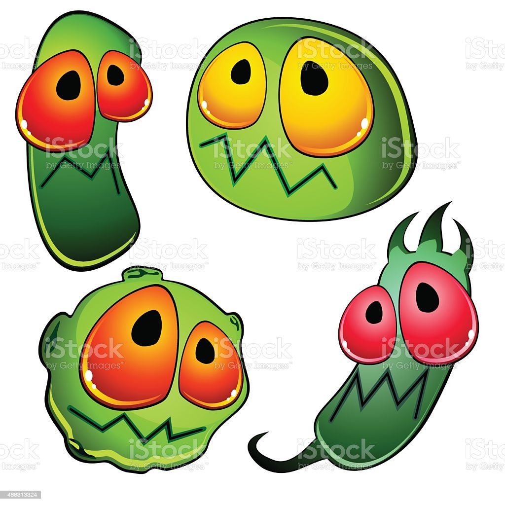 Four glossy germs vector art illustration