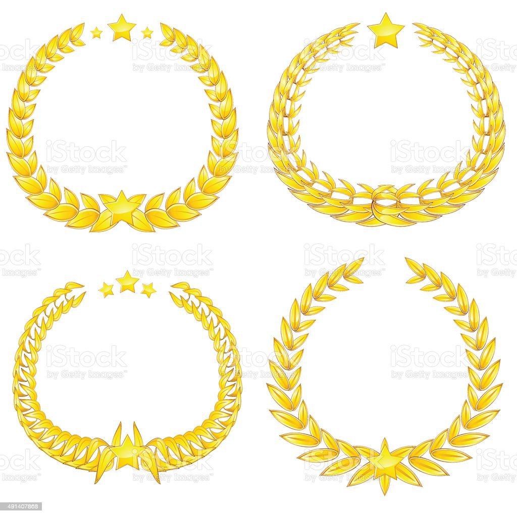 Four gold wreaths vector art illustration