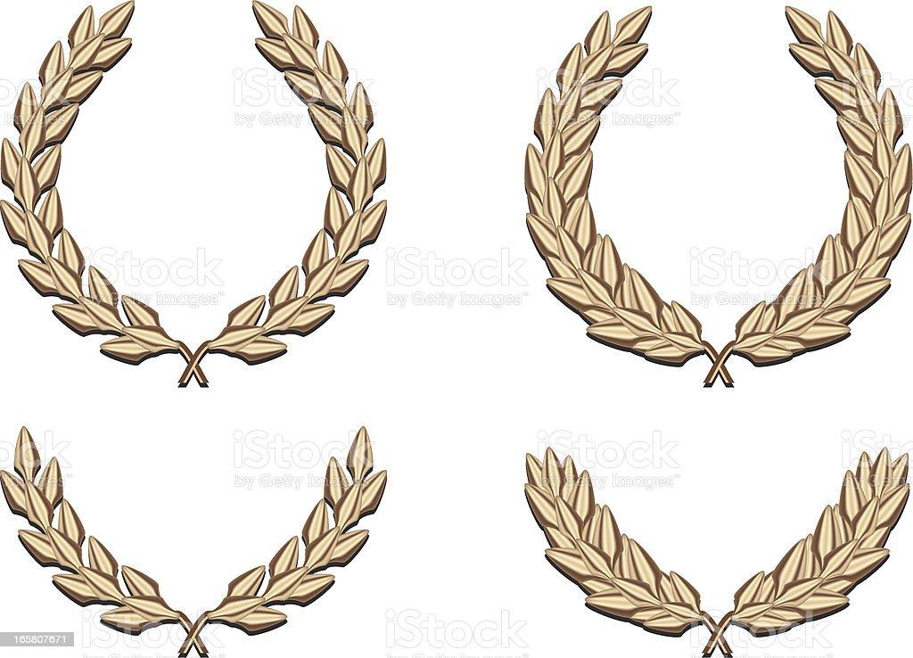 Four Golden Laurels royalty-free stock vector art