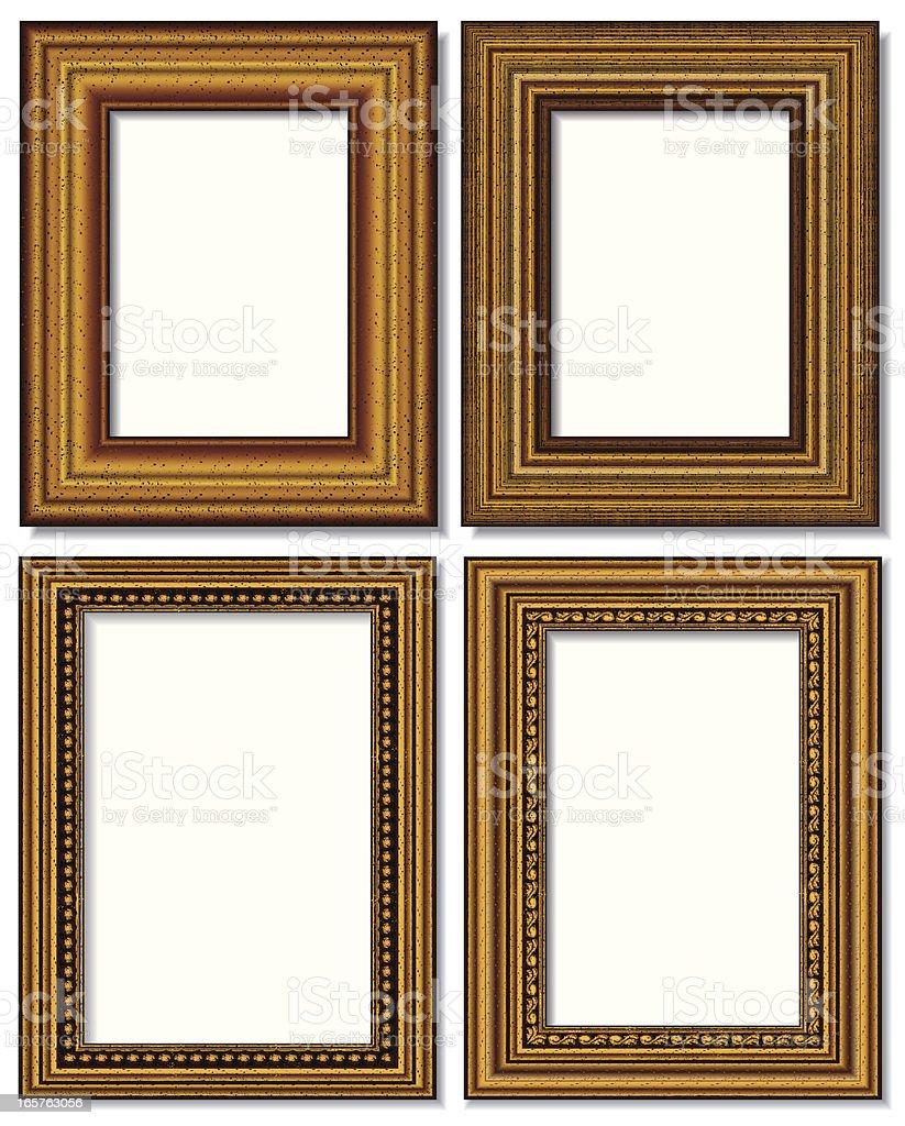 four golden picture frames isolated on white vector art illustration
