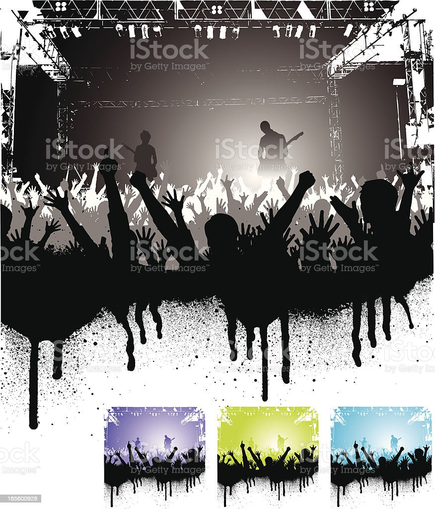 Four graphics of cheering crowd at rock concert royalty-free stock vector art