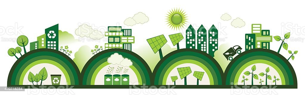 Four green semi circles representing an eco city vector art illustration