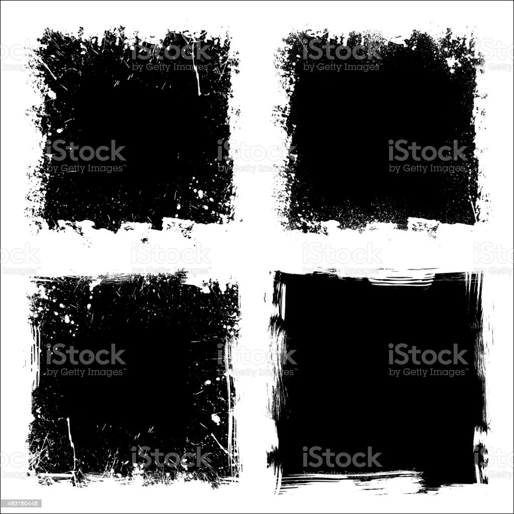 Four grunge frames vector art illustration