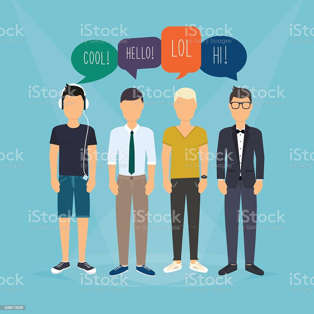 Four guys communicate. Speech Bubbles with Social Media Words. V vector art illustration