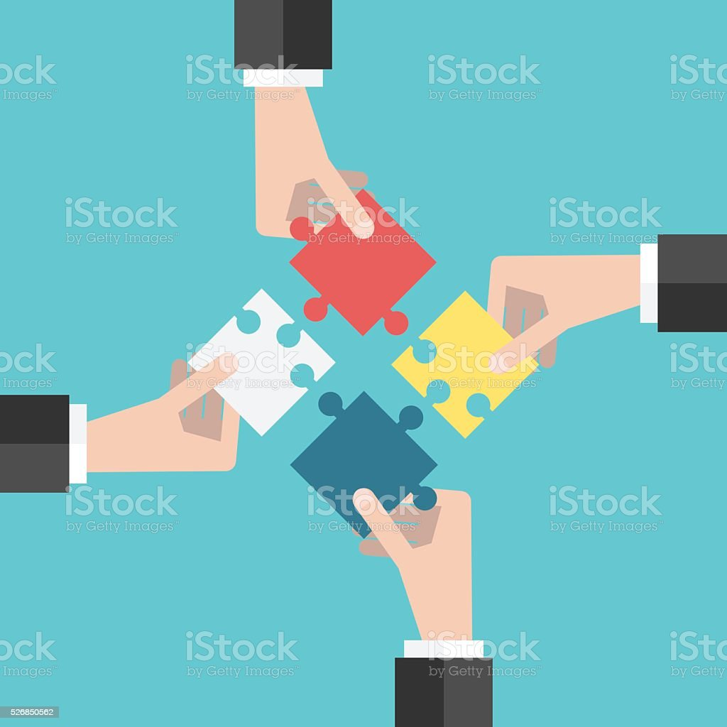 Four hands putting puzzles vector art illustration