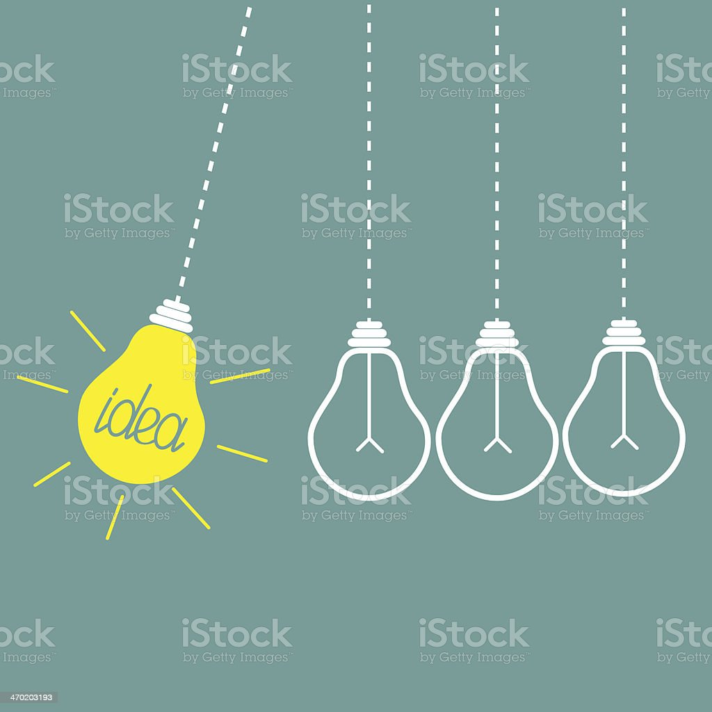 Four hanging yellow light bulbs. Perpetual motion. Idea concept. vector art illustration