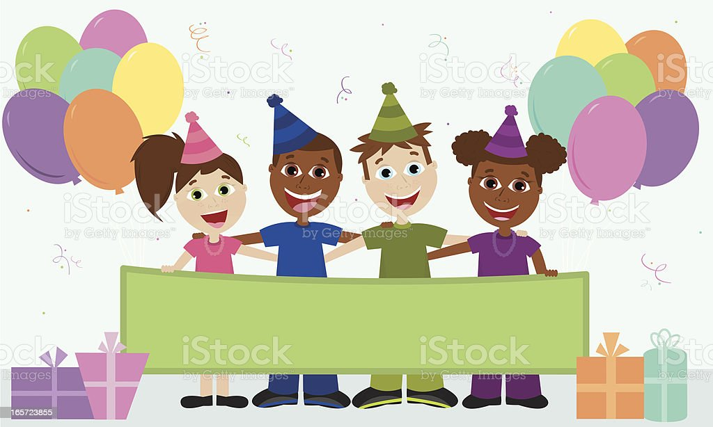 Four Happy Friends Celebrating a Birthday! royalty-free stock vector art