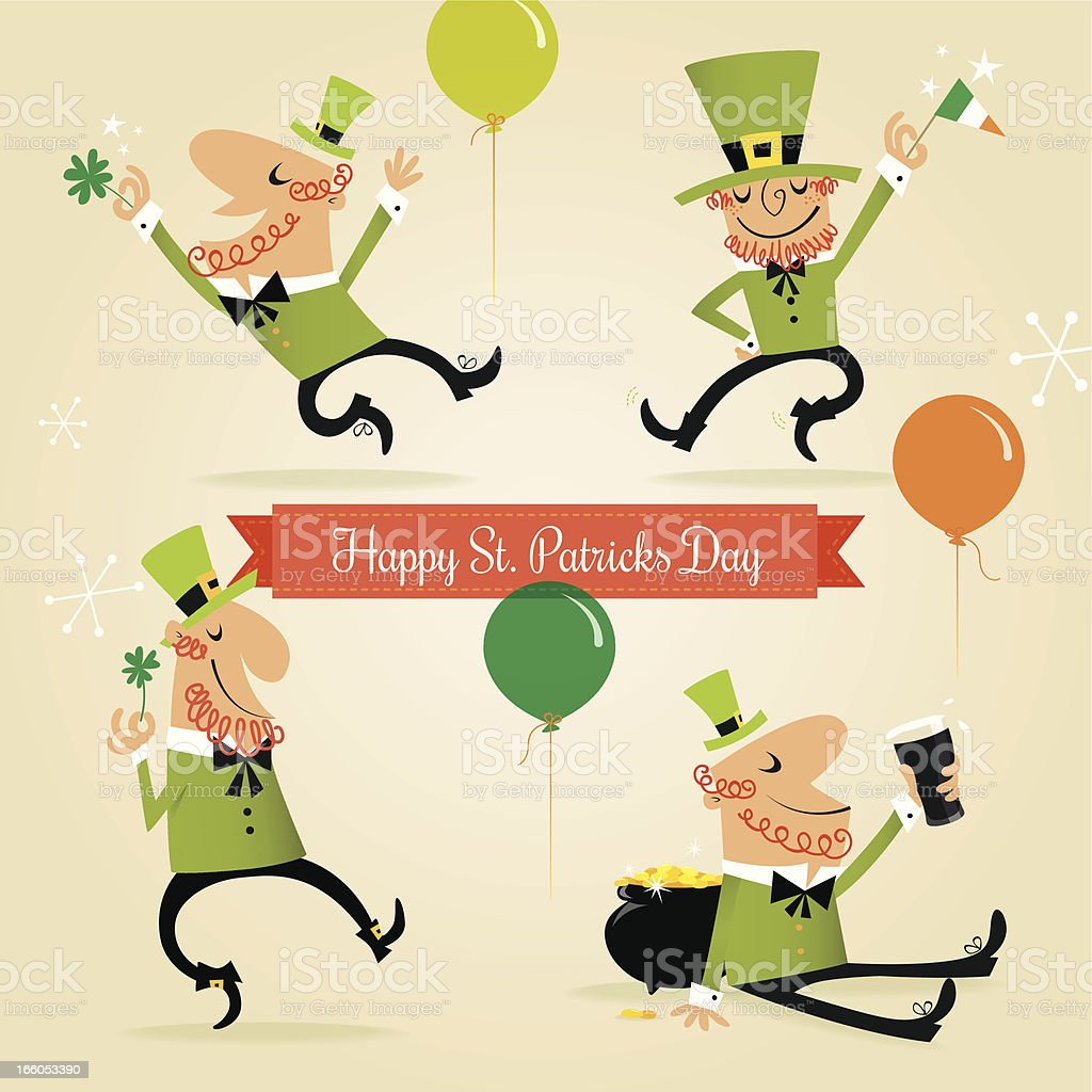 Four Happy leprechauns vector art illustration
