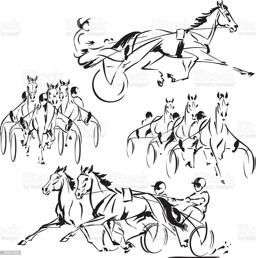 Four harness-racing themes vector art illustration