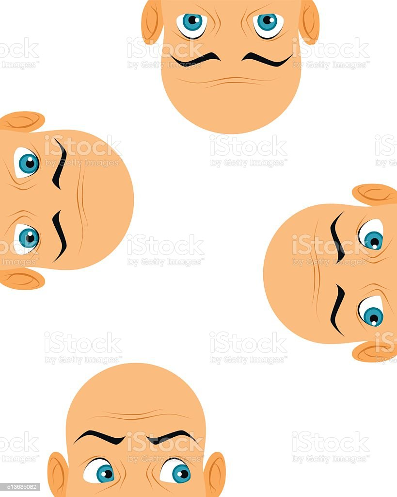 Four heads looking vector art illustration