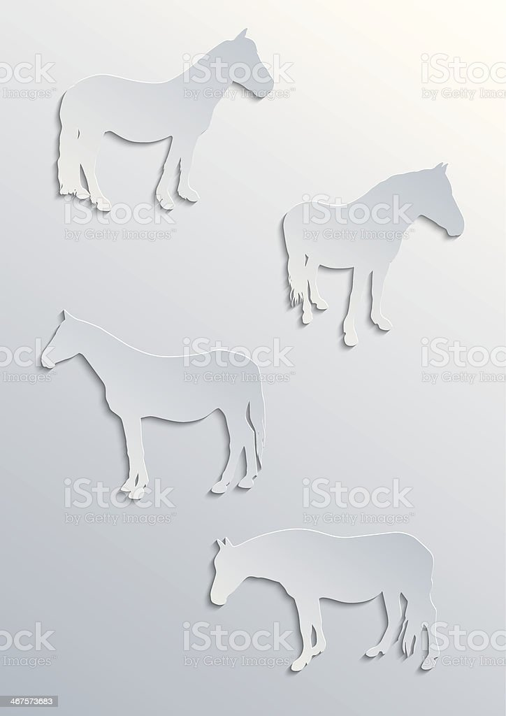 Four horses silhouettes royalty-free stock vector art