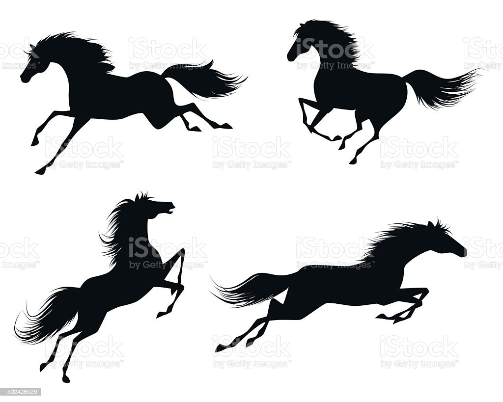 Four horses silhouettes vector art illustration