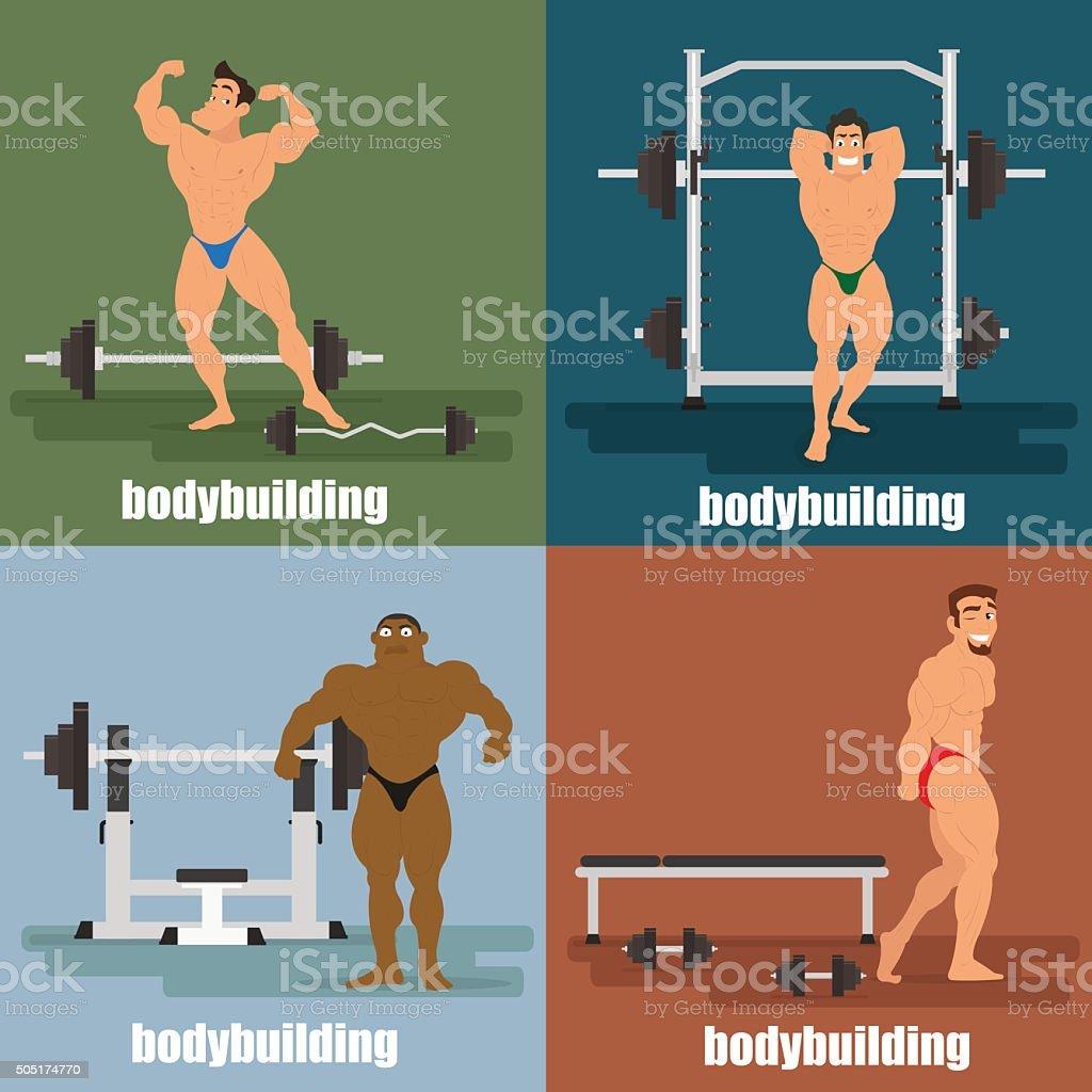four icons - bodybuilding vector art illustration