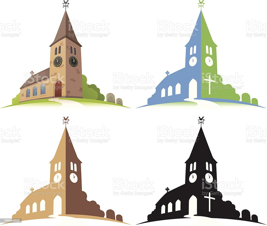 Four illustrations of a church in different colors vector art illustration