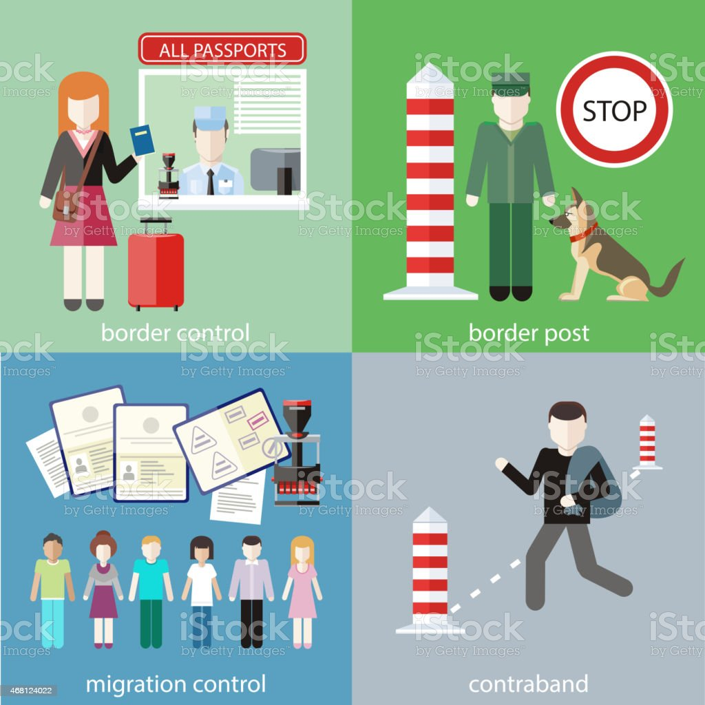 Four illustrations of border control vector art illustration