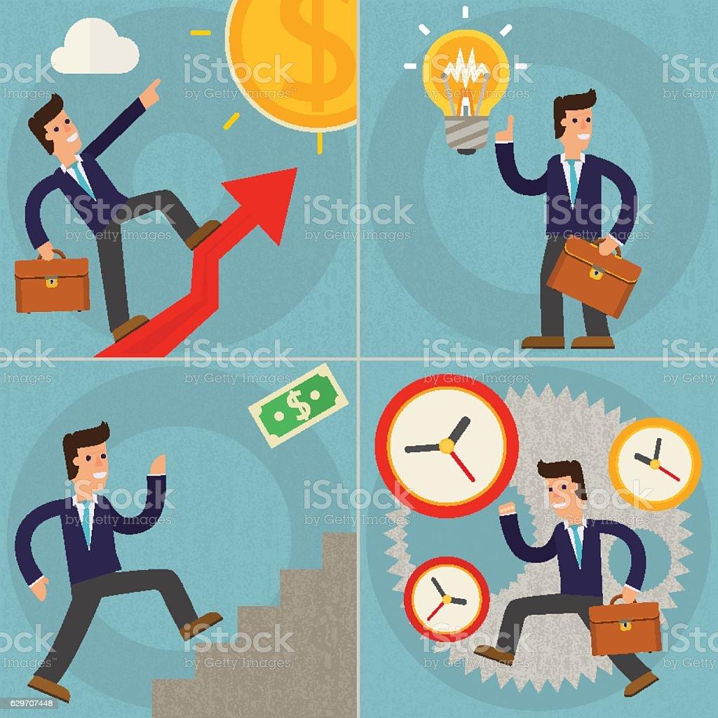 Four Illustrations of Cartoon Character Successful Businessman vector art illustration