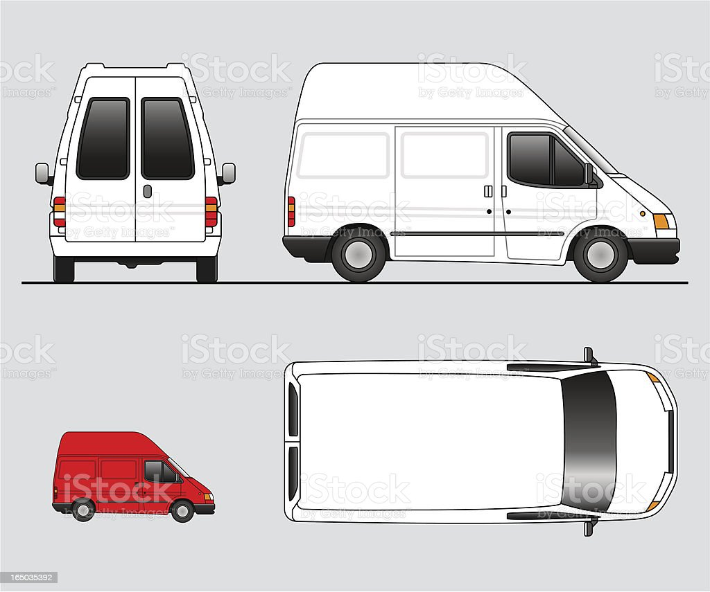 Four illustrations of delivery trucks vector art illustration