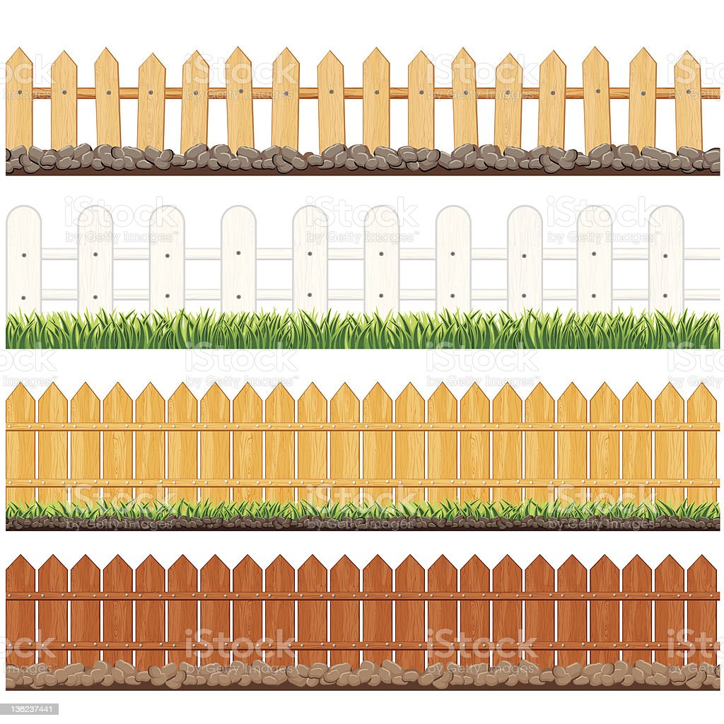 Four illustrations of different fences royalty-free stock vector art