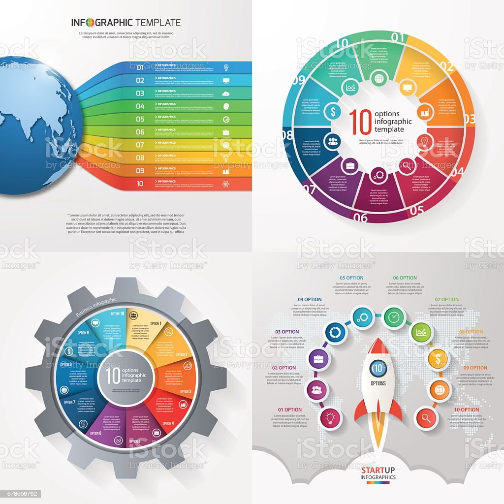 Four infographic templates with 10 steps, options, parts, proces vector art illustration