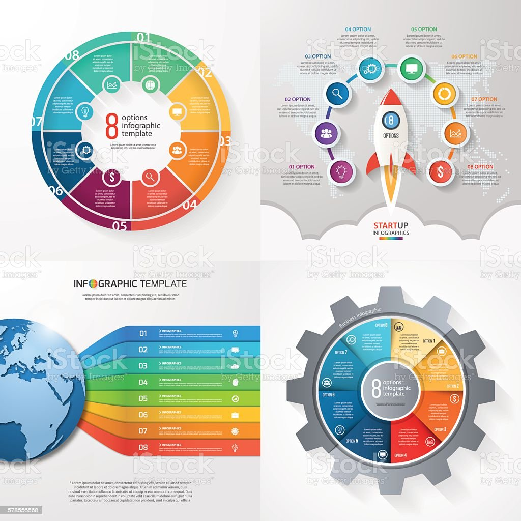 Four infographic templates with 8 steps, options, parts, process vector art illustration