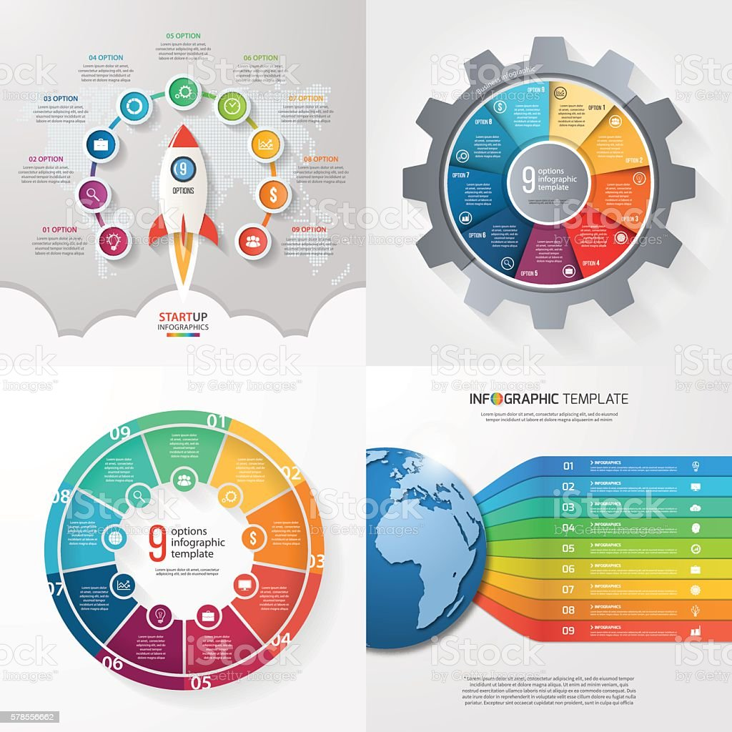 Four infographic templates with 9 steps, options, parts, process vector art illustration