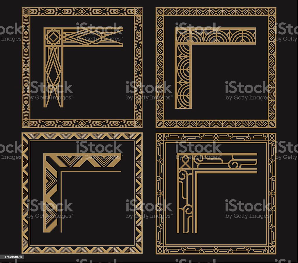 Four intricate gold art deco borders on black vector art illustration