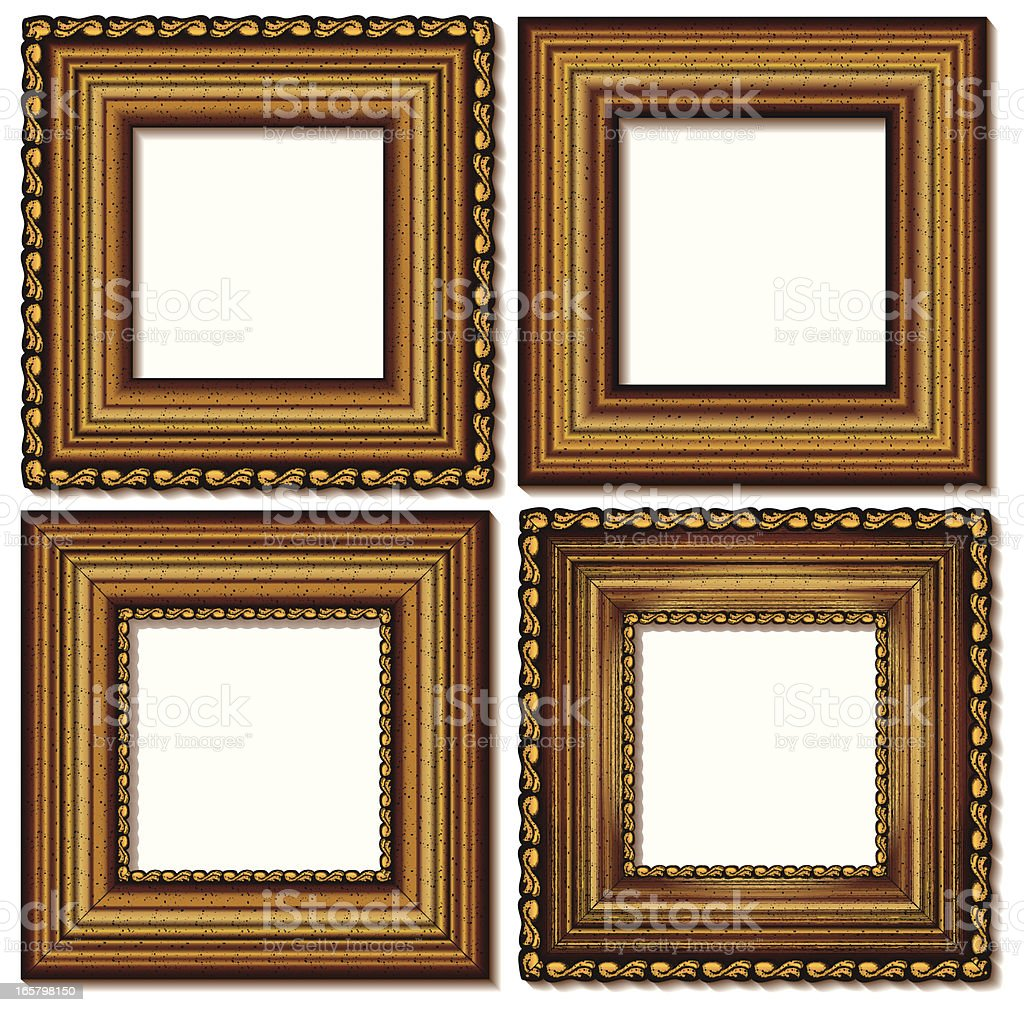 four isolated golden frames royalty-free stock vector art